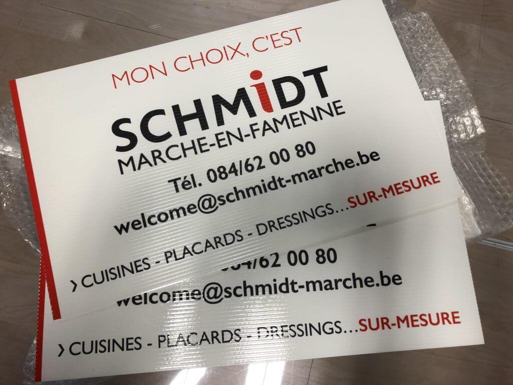 Panneaux de chantier pour Schmidt Marche-en-Famenne